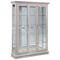Double Door Picture Frame Deluxe Curio | 4 adjustable shelves with plate groove, mirror back, clear glass, LED touch light, brass plate with lock | Oak in Antique Slate OCS119 | 52in W x 14in D x 73in H | The Amish Home | Amish Furniture at the Pittsburgh Mills