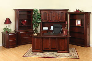 Fifth Avenue Excutive Desk. Crednza with Hutch, Lateral File with Hutch, File Cabinet, Bookcas