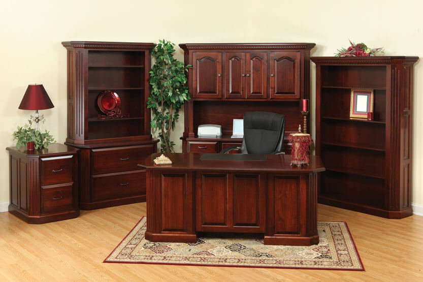 Fifth Avenue Executive Desk, Credenza with Hutch, 2-Drawer File Cabinet, Lateral File Cabinet with Hutch, Bookcase|Amish Furniture in the Pittsburgh Mills