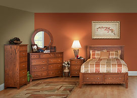 Hyland Park Bedroom Furniture Collection|Hyland Park Panel Bed with Footboard storage Drawers, Mule Dresser with Round Mirror, 3 Drawer Nightstand, Lingerie Chest|Solid Oak in Michaels OCS113|The Amish Home|Amish Furniture at the Pittsburgh Mills