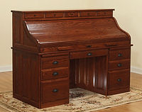 David's Traditional 68in Roll Top Desk with Drawers on Top | Oak in Michaels OCS113 | 68in W x 30in D x 51 1/2in H | The Amish Home | Amish Furniture at the Pittsburgh Mills