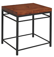 Cameron End Table with metal base | Metal Base & Brown Maple in Michaels OCS113 | 22in W x 26in D x 25in H | The Amish Home | Amish Furniture at the Pittsburgh Mills