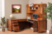 Rivertowne L-Desk with Hutch|Brown Maple in Michaels OCS113|75in W x 71 3/4in D x 70 1/4in H|The Amish Home|Amish Furniture at the Pittsburgh Mills