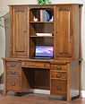 Woodbury Pencil Desk with Hutch | Brown Maple in Asbury OCS117 | 60in W x 24in D x 73in H | The Amish Home | Amish Furniture at the Pittsburgh Mills