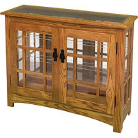 Mission Small Console Curio | Glass top, 2 adjustable shelves with plate groove, mirror back, clear glass, no light, black pull with lock | Oak in Michaels OCS113 | 38in W x 13in D x 30in H | The Amish Home | Amish Furniture at the Pittsburgh Mills