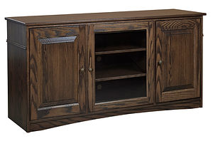 Nelson's Economy Traditional TV Stand with three doors | Oak in Cocoa OCS122 | 60in W x 18in D x 30in H | The Amish Home | Amish Furniture at the Pittsburgh Mills