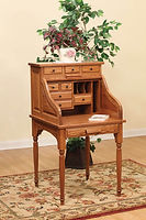 Secretary Roll Top Desk|Oak in Fruitwood OCS102|28in W x 29in D x 51 1/2in H|The Amish Home|Amish Furniture at the Pittsburgh Mills