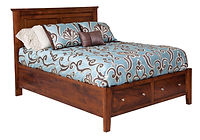 Hyland Park Panel Bed with optional storage|Brown Maple in Michaels OCS113|Headboard 53 1/2in H, footboard 20 1/2in H|The Amish Home|Amish Furniture at the Pittsburgh Mills