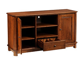 Franchi TV Stand with 2 Wood Doors, 1 Drawer, and Open Shelves | Inset raised panel doors, flush inset drawer, fluted beveled leg styling | Rustic Cherry in Boston OCS111 | 55in W x 18in D x 30in H | The Amish Home | Amish Furniture at the Pittsburgh Mills