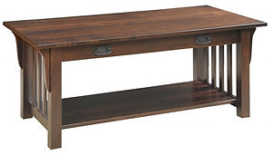 85 Mission Coffee Table with Drawer|Brown Maple in Asbury OCS117|46in W x 22in D x 20in H|The Amish Home|Amish Furniture at the Pittsburgh Mills