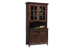 Lexington Shaker 2 Door Hutch|Brown Maple in Coffee OCS226|44in W x 20in D x 82 1/2in H|The Amish Home|Amish Furniture at the Pittsburgh Mills Amish Dining Solutions