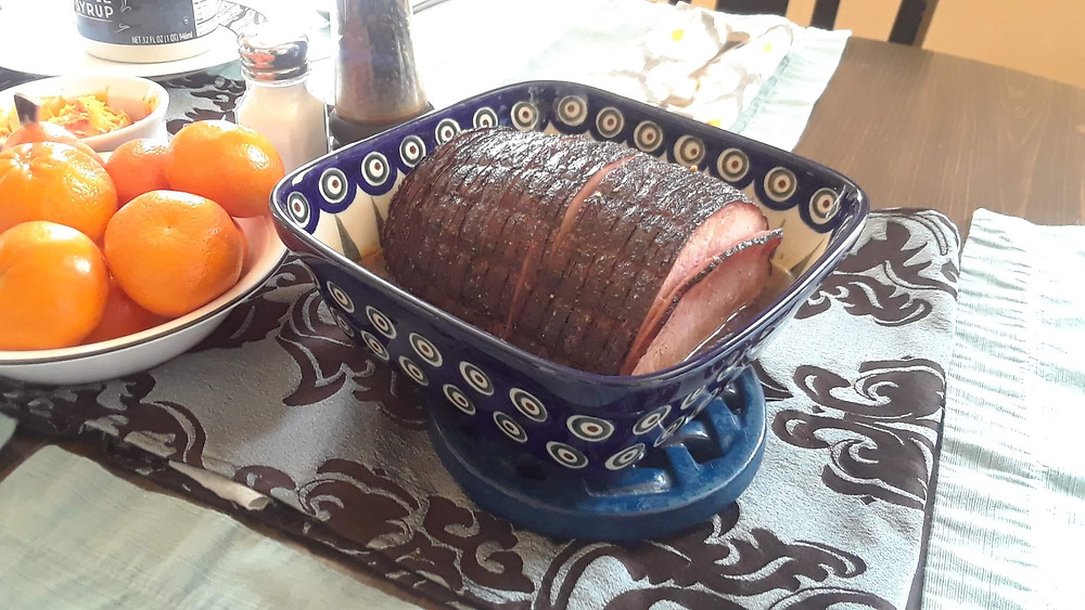 """Polish Pottery 7"""" square baker in Peacock pattern with glazed spiral cut ham"""