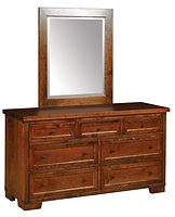 Farmhouse Double Dresser & Mirror|Rustic Cherry in Asbury OCS117|60in W x 20in D x 33in H|The Amish Home|Hardwood Furniture at the Pittsburgh Mills