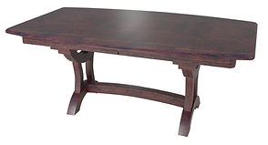 Bridgeport Trestle Table | Shown with boat top, chamfer edge. Available with butterfly leaf. | Rustic Cherry in Michaels OCS113 | Many Sizes Available | The Amish Home | Amish Furniture at the Pittsburgh Mills