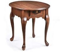 Queen Anne Oval End Table|Rustic Cherry in Boston OCS111|21in W x 26in D x 24in H|The Amish Home|Amish Furniture at the Pittsburgh Mills