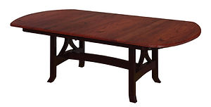 Jackson Trestle Table | Shown with bow top end, waterfall edge. Butterfly leaf available. | Brown Maple in Two-toned | Many Sizes Available | The Amish Home | Amish Furniture at the Pittsburgh Mills