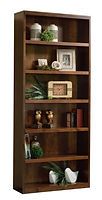 Timbercraft Contemporary Bookcase | Solid hardwood sides and tops. All shelves are fully adjustable. 1 1/2in hardwood strip on front of shelves. Available with wood inset flat panel doors. If door option is added, 36in/48in high have full height doors, 60in/72in/84in high have top of doors at 30 1/2in high. Flat sides, flush moldings. | Brown Maple in Earthtone FC40592 | Many Sizes Available | The Amish Home | Amish Furniture at the Pittsburgh Mills