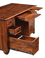 Cherry Valley Junior Executive Desk shown open | Rustic Cherry in Michaels OCS113 | 72in W x 30in D x 30in H | The Amish Home | Amish Furniture at the Pittsburgh Mills