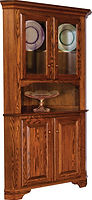 Landsbury Corner Hutch|Oak in Michaels OCS113|in W x in D x 80in H, 32 1/2in wall space|The Amish Home|Amish Furniture at the Pittsburgh Mills