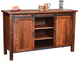 Farmhouse Buffet with adjustable shelves|Rustic Cherry in Medium OCS110|70in W x 21 3/4in D x 42in H|The Amish Home|Amish Furniture at the Pittsburgh Mills