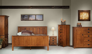 Michaels Mission Bedroom Furniture Collection|Michael's Mission 3 Drawer Nightstand, Lingerie Chest, Man's Chest, Armoire, English Shakr Panel Bed|Solid Quartersawn White Oak in Michaels OCS113|The Amish Home|Amish Furniture at the Pittsburgh Mills