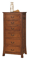 Bridgeport Mission Lingerie Chest|Quartersawn White Oak in Michaels OCS113|27in W x 19 3/4in D x 57in H|The Amish Home|Amish Furniture at the Pittsburgh Mills