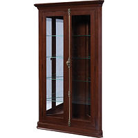 Havenna Corner Curio | 4 adjustable shelves with plate groove, clear glass, LED touch light, no lock | Brown Maple in Asbury OCS117 | 43 3/4in W x 19 1/2in D x 73in H, 30 3/4in wall space | The Amish Home | Amish Furniture at the Pittsburgh Mills