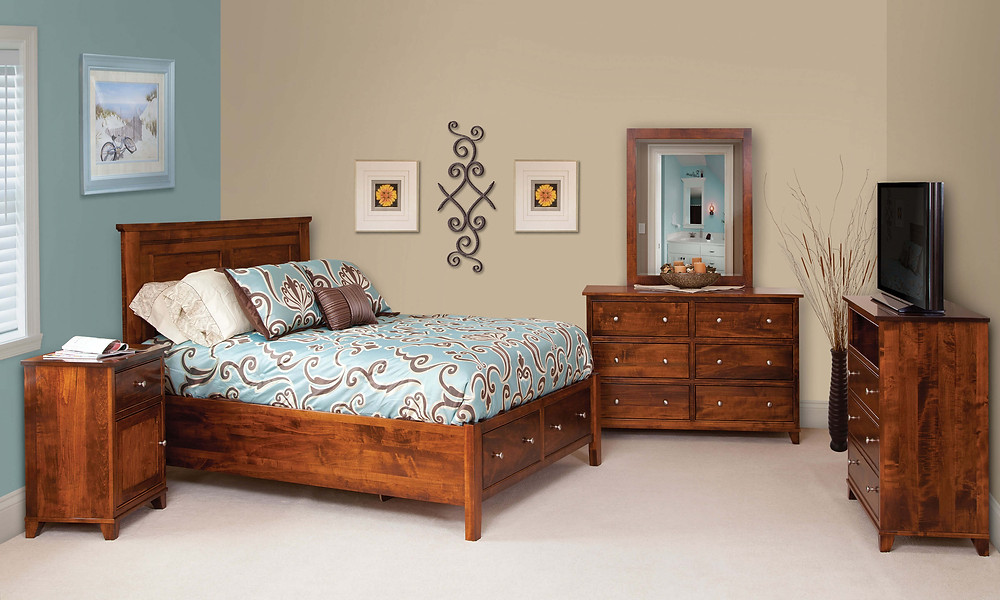 Hyland Park Bedroom Furniture Collection|Hyland Park Panel Bed with Footboard storage Drawers, 56in Dresser with Mirror, 1 Drawer 1 Door Nightstand, TV Chest of Drawers|Solid Brown Maple in Michaels OCS113|The Amish Home|Amish Furniture at the Pittsburgh Mills