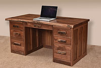 David's 62in Mission Flat Top Desk with Live Edge | Rustic Walnut in Natural OCS100 | 62in W x 30in D x 30in H | The Amish Home | Amish Furniture at the Pittsburgh Mills