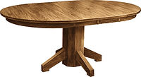 Mission Single Pedestal Dining Table|Oak in Seely OCS104|Many Sizes Available|The Amish Home|Amish Furniture at the Pittsburgh Mills