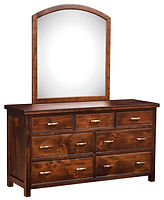 Timbermill Double Dresser with Optional Arched Mirror | Seven drawer dresser. Four wide inset drawers, three narrow top drawers. 1 1/2inch solid top with softened front edge, beaded trim on drawers, flat inset panel sides, antique brushed satin brass hardware. | Rustic Cherry in Kona FC-3030 | 60in W x 20 1/4in D x 33in H | The Amish Home | Amish Furniture at the Pittsburgh Mills