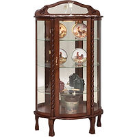 Rope Twist Curio | 3 adjustable glass shelves with plate groove, mirror back, clear glass, LED touch light, brass pull with lock, door hinged right | Cherry in Washington OCS107 | 34in W x 16in D x 65in H | The Amish Home | Amish Furniture at the Pittsburgh Mills