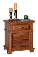 Lindenhurst 3 Drawer Nightstand|Rustic Cherry in Seely OCS104|26in W x 18in D x 30in H|The Amish Home|Amish Furniture at the Pittsburgh Mills