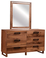 Odessa Dresser with Optional Mirror|Rustic Walnut in Natural OCS100|60in W x 19 1/2in D x 34 3/4in H|The Amish Home|Amish Furniture at the Pittsburgh Mills