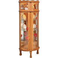 Corner Bonnet Top Curio | 3 adjustable shelves with plate groove, mirror back, clear glass, 2 LED touch lights, brass pull with lock, door hinged right | Oak in Fruitwood OCS102 | 26in W x 22in D x 70 1/2in H | The Amish Home | Amish Furniture at the Pittsburgh Mills
