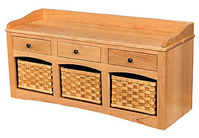 Basket Bench with Drawers|Oak in MX OCS103|49in W x 16 1/2in D x 23in H|The Amish Home|Amish Furniture at the Pittsburgh Mills