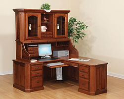 Fifth Avenue L-Shape Roll Top Desk|Cherry in Washington OCS107|75in W x 78in D x 85in H|The Amish Home|Amish Furniture at the Pittsburgh Mills