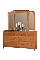 English Shaker 66in Dresser & Mirror|Oak in Seely OCS104|66in W x 20 1/4in D x 35in H|The Amish Home|Hardwood Furniture at the Pittsburgh Mills