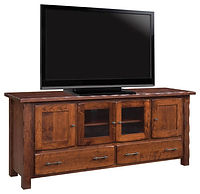 Hand Hewn TV Stand | Rustic Cherry in Michaels OCS113 | 70in W x 18in D x 30in H | The Amish Home | Amish Furniture at the Pittsburgh Mills