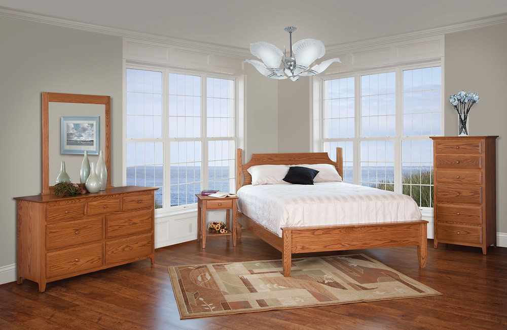 English Shaker Bedroom Furniture Collection|English Shaker Ridge Bed, 56in Drresser and Mirror, Open Nightstand, Lingerie Chest|Solid Oak in Seely OCS104|The Amish Home|Amish Furniture at the Pittsburgh Mills