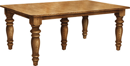 Enos's favorite table, Surfside Leg Table, solid wood rectangle table with thick turned legs and self-storing leaves, available built in your choice of American-grown hardwoods