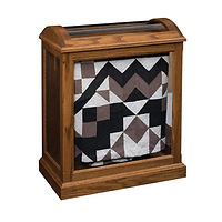 Enclosed Base Quilt Case | 2 quilt bars, wood back, clear glass | Oak in Medium OCS110 | 26 1/2in W x 14 1/4in D x 32 1/2in H | The Amish Home | Amish Furniture at the Pittsburgh Mills