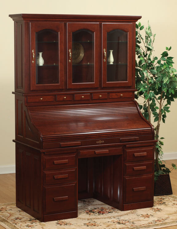 Traditional Roll Top Desk with Hutch