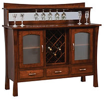Woodbury Buffet with wine rack|Rustic Cherry in Asbury OCS117|60in W x 20 1/2in D x 42in H|The Amish Home|Amish Furniture at the Pittsburgh Mills