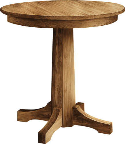 Firman's favorite table, Pinnacle Pub round pedestal table, available at dining height, counter height, or bar height.