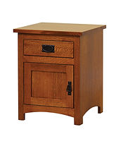 Michael's Mission 1 Drawer 1 Door Nightstand|Quartersawn White Oak in Michaels OCS113|20 1/2in W x 17 3/4in D x 25 1/2in H|The Amish Home|Amish Furniture at the Pittsburgh Mills