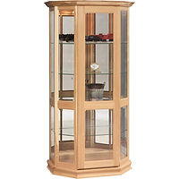 Angled Picture Frame Curio with Sliding Door | 4 adjustable shelves with plate groove, mirror back, clear glass, LED touch light, door slides left | Oak in Fruitwood OCS102 | 37in W x 21in D x 72in H | The Amish Home | Amish Furniture at the Pittsburgh Mills