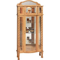 Tri-Front Bonnet Top Curio | 3 adjustable shelves with plate groove, mirror back, clear glass, 2 LED touch lights, brass pull with lock, door hinged right | Oak in Fruitwood OCS102 | 34in W x 15in D x 76in H | The Amish Home | Amish Furniture at the Pittsburgh Mills
