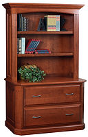 Buckingham Lateral File Cabinet with Hutch|Cherry in Washington OCS107|50 3/4in W x 23 1/2in D x 77 1/2in H|The Amish Home|Amish Furniture at the Pittsburgh Mills