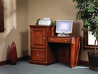 Heirwood Hi Lo Computer Desk | Available in Traditional (as shown), Mission, or Shaker style |  in  | 49 1/4in W x 23in D x 40 3/4in H | The Amish Home | Amish Furniture at the Pittsburgh Mills